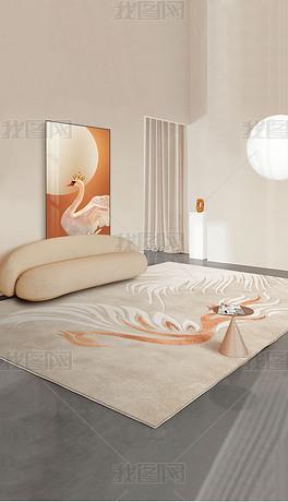 北欧轻奢侘寂风抽象线条几何客厅地毯床边毯地垫