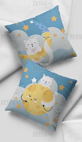 北欧莫兰迪色蓝色星星月亮小猫抱枕家居图案