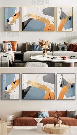 现代简约抽象油画创意艺术客厅装饰画2
