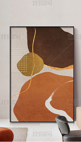 轻奢简约大气枫叶红几何艺术玄关客厅装饰画6