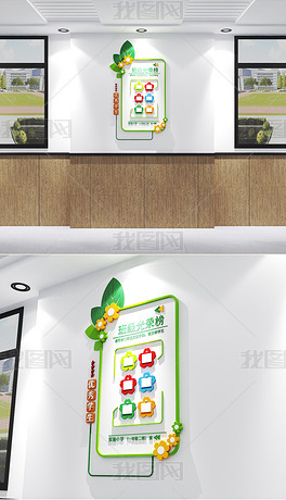 绿色竖版班级文化墙光荣榜优秀学生风采展示墙