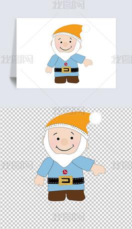 矢量图卡通手绘童话人物海报儿童小矮人