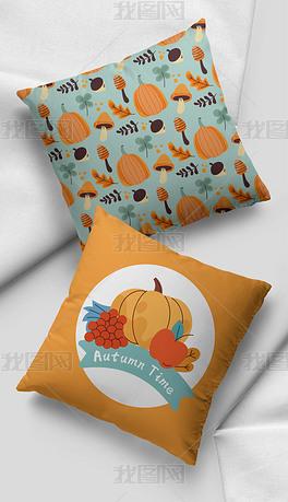 北欧莫兰迪色现代简约橙色南瓜苹果抱枕家居图案