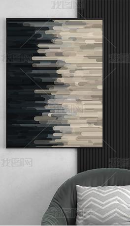 欧几里得の梦境抽象灰黑米色横纹粗线装饰画