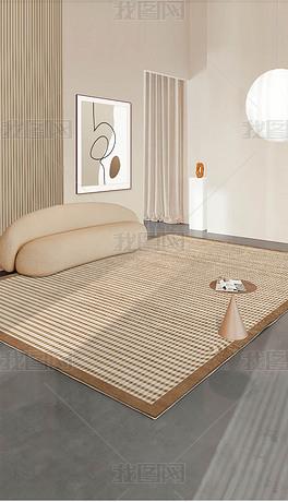 北欧轻奢宅寂风灰色床边客厅玄关几何地毯地垫