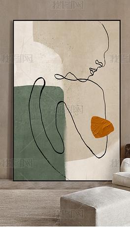 轻奢抽象肌理人物线条艺术玄关客厅装饰画6