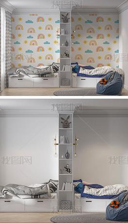 儿童房客厅拼花墙纸背景墙样机