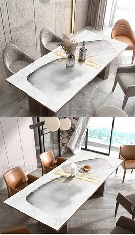 新中式抽象轻奢水墨几何黑白桌布茶几餐桌垫