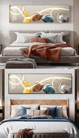 风景山水石来运转现代简约LED床头画2