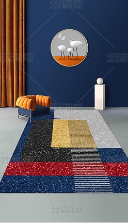 现代简约抽象几何拼接图案青金石蓝地毯
