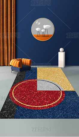 现代简约抽象金色几何轻奢拼接图案青金石蓝地毯