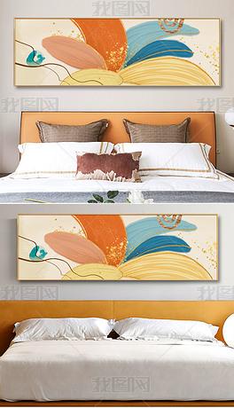 轻奢现代时尚手绘抽象油画花语客厅床头装饰画3
