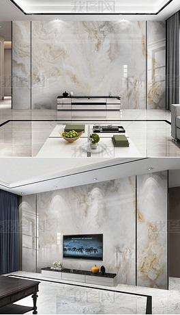 新中式简约大理石纹电视背景墙抽象