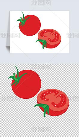 矢量图卡通手绘食物植物蔬菜红色番茄