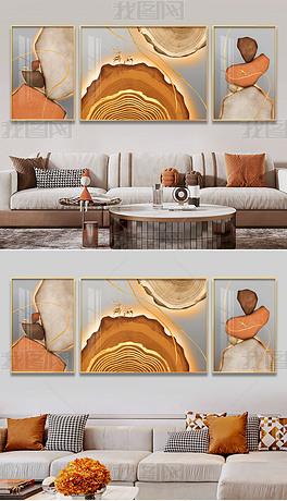 轻奢石来运转招财麋鹿金年轮客厅三联装饰画3