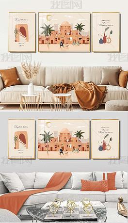 莫拉迪色系浪漫土耳其系列三联客厅装饰画
