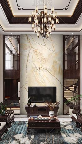 新中式石材复式背景墙