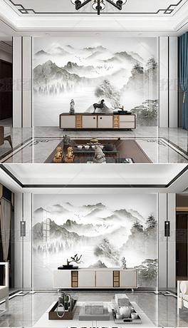 现代轻奢石纹山水背景墙