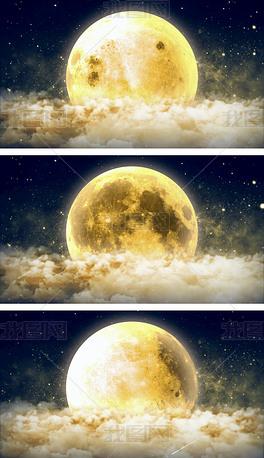 中秋月圆之夜月夜星空视频背景
