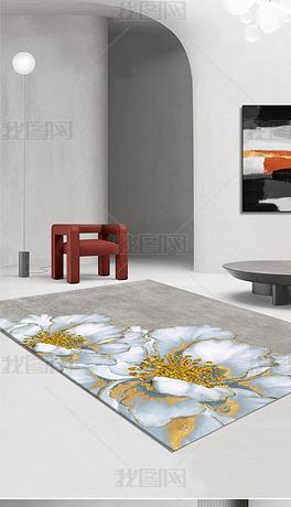 北欧现代轻奢抽象创意金色花地毯地垫图案