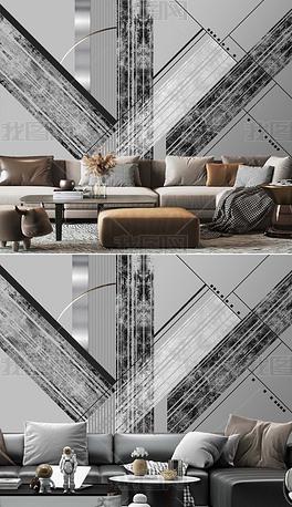 现代艺术轻奢简约抽象几何工业暖灰背景墙