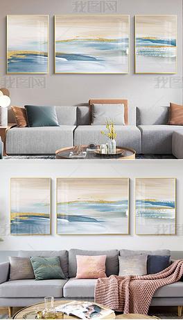 现代北欧抽象轻奢油画高端客厅烁金装饰画