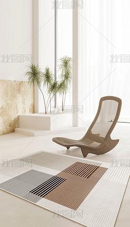 抽象线条几何轻奢现代简约北欧客厅地毯6