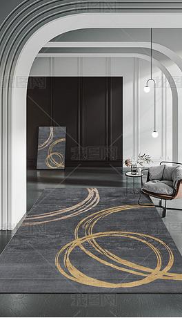 现代简约抽象手绘金色线条黑色高档客厅卧室地毯