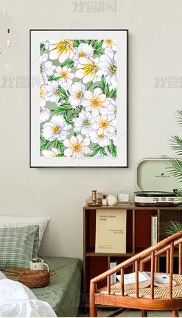 北欧现代简约小清新日式轻奢餐厅花卉装饰画