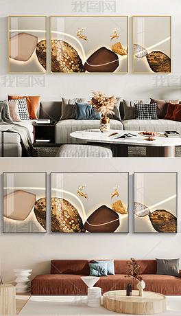 现代简约抽象轻奢石来运转LED客厅装饰画4