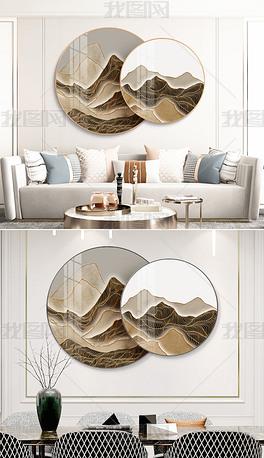 新中式现代轻奢抽象立体金线水墨山水圆形装饰画
