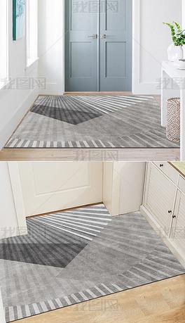 北欧现代简约轻奢几何抽象入门地毯进门地垫客厅
