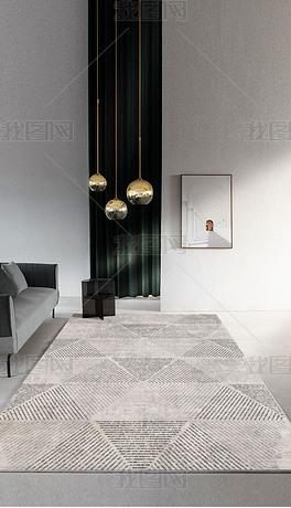 现代简约抽象手绘几何线条三角形线性艺术地毯