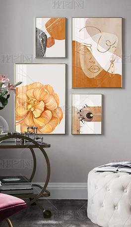 北欧现代小清新手绘花卉轻奢抽象多幅组合装饰画