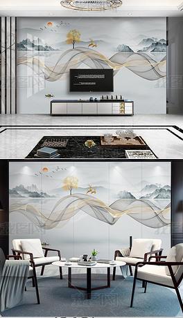 新款现代简约新中式抽象水墨山水烟雾线条背景墙