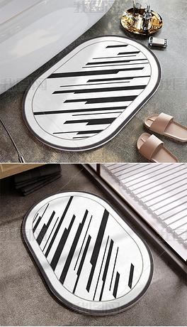 现代简约几何条纹ins硅藻泥地毯地垫浴室垫