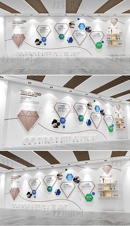 整墙钻石咖色企业文化墙企业简介价值观文化墙
