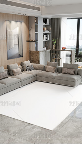 高清现代轻奢客厅地毯场景样机A168