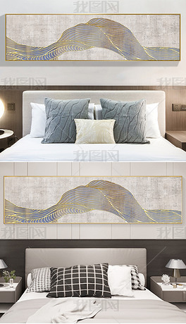 现代简约抽象几何金色线条复古侘寂风床头装饰画
