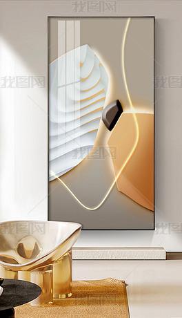 轻奢莫兰迪LED现代简约玄关装饰画