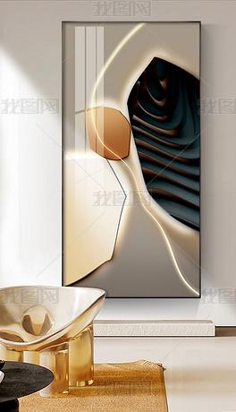 轻奢莫兰迪LED现代简约玄关装饰画2