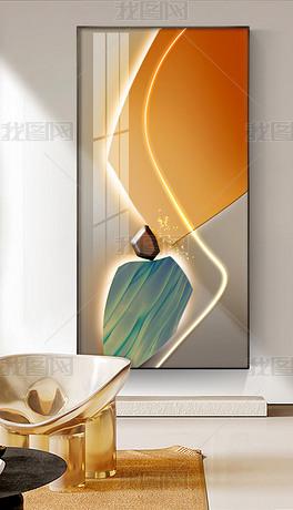 轻奢莫兰迪LED现代简约玄关装饰画3
