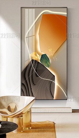 轻奢莫兰迪LED现代简约玄关装饰画4