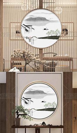 新中式水墨山水风景江南禅意客厅玄关画装饰画