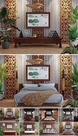 8款展示客厅卧室荷花水墨艺术装饰画场景样机