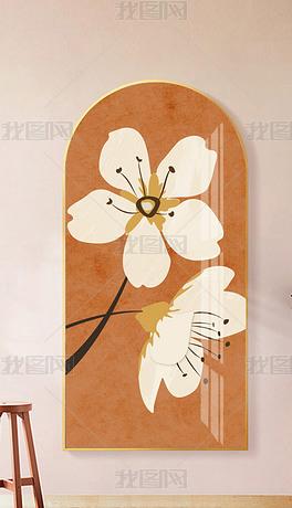 现代北欧抽象花朵少女卧室过道客厅玄关装饰画1