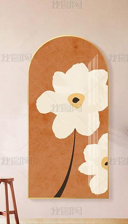现代北欧抽象花朵少女卧室过道客厅玄关装饰画2