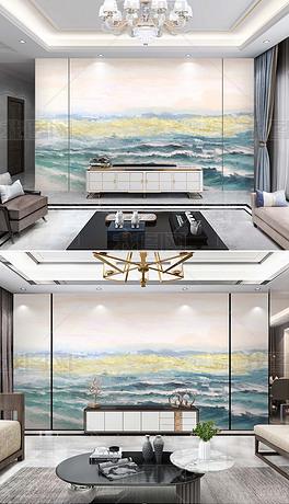 北欧现代抽象创意手绘艺术风景轻奢客厅电视背景