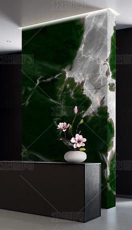 大幅现代高清绿色大理石背景墙复式楼玄关大板