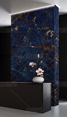 大幅现代高清蓝色大理石背景墙复式楼玄关大板